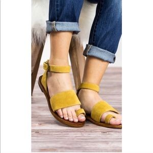 Free People Shoes - Free People mustard Yellow Torrence suede sandals